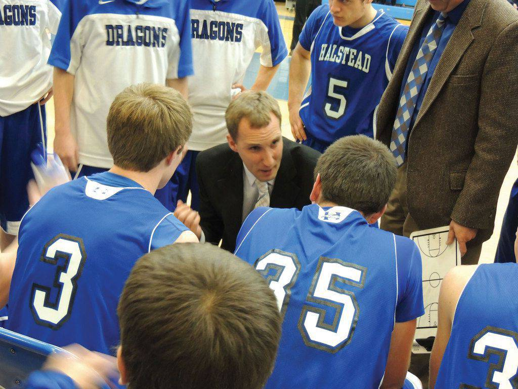 Tony Hoops coaching the Halstead basketball team.  Photo provided by Tony Hoops.