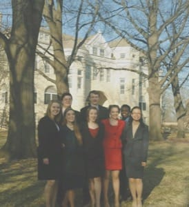 Bethel's 2015-16 forensics team, front row (from left): Heather Chaney, Autumn Masters, Kendra Gonzales, Emily Kondziola and Candy Dao; back row: Clinton Unruh, Jacob Miller and Shekhinah Jones