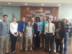 Emerson Meets Management, with guest professor E. LaVerne Epp '72, took a field trip to Epp's offices at the Bioscience and Technology Business Center at the University of Kansas; from left, Drew Trollope, Shelby Howard, Ben Carlson, Mason Unruh, Epp, Carlos Dickerson, Jaden Schmidt, Tony Wagler, Brian Krehbiel, Rachel Green and Quoran Lewis.