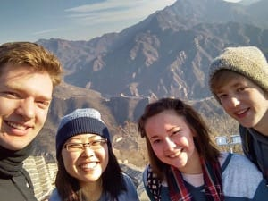 Selfie on the Great Wall, from left: Zach Preheim, Maya Kathrineberg, Emily Kondziola and Connor Born