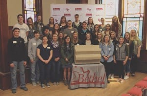 "On March 5, Admissions staff welcomed incoming Bethel students (seniors in high school) for the 3rd annual Scholarship Day. It included a ceremony in the chapel meant to evoke ""touching the threshing stone"" at graduation."