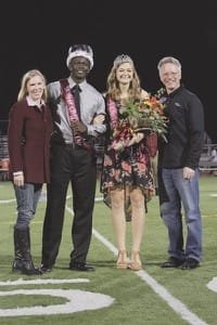 Dalene White and President Perry White flank this year's homecoming king and queen, seniors Austin Mitchell of Plano, Texas, and Tia Goertzen of Goessel.