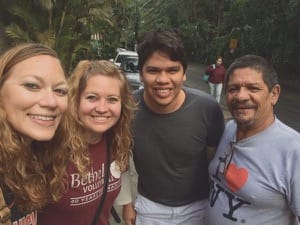 Jennifer Scott, right, and Kaitlyn Preheim, next to her, with their Brazilian host, Neto, left, and another new Brazilian friend, in Rio de Janeiro at the time of the 2016 Summer Olympics