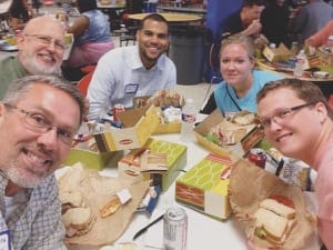 Allen Jantz, bottom left, takes a selfie with four other teachers (all Bethel education graduates) new to the Wichita school district in September 2015; clockwise from Jantz: Tom Szambecki '03, Robbie Wright '13, Ginny Yunker '11 and Micah Smith '14.
