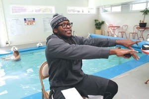 Rashaka Lucas leads the arthritis water aerobics class at Kidron-Bethel Village's Wellness Center.