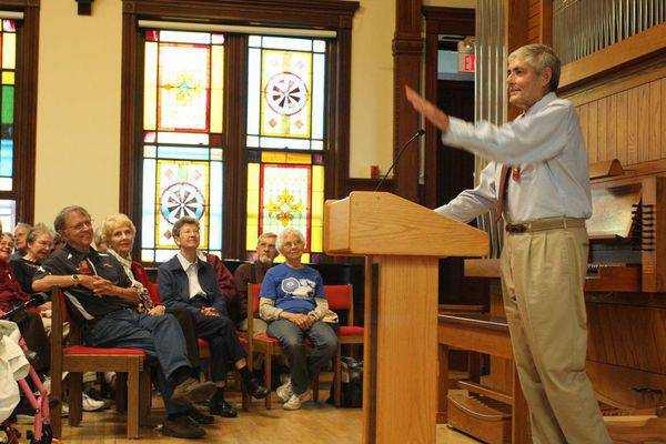 On Saturday afternoon of Fall Festival, the chapel filled up for Sprunger's presentation on the sources he used to research and write the book (photo at right).