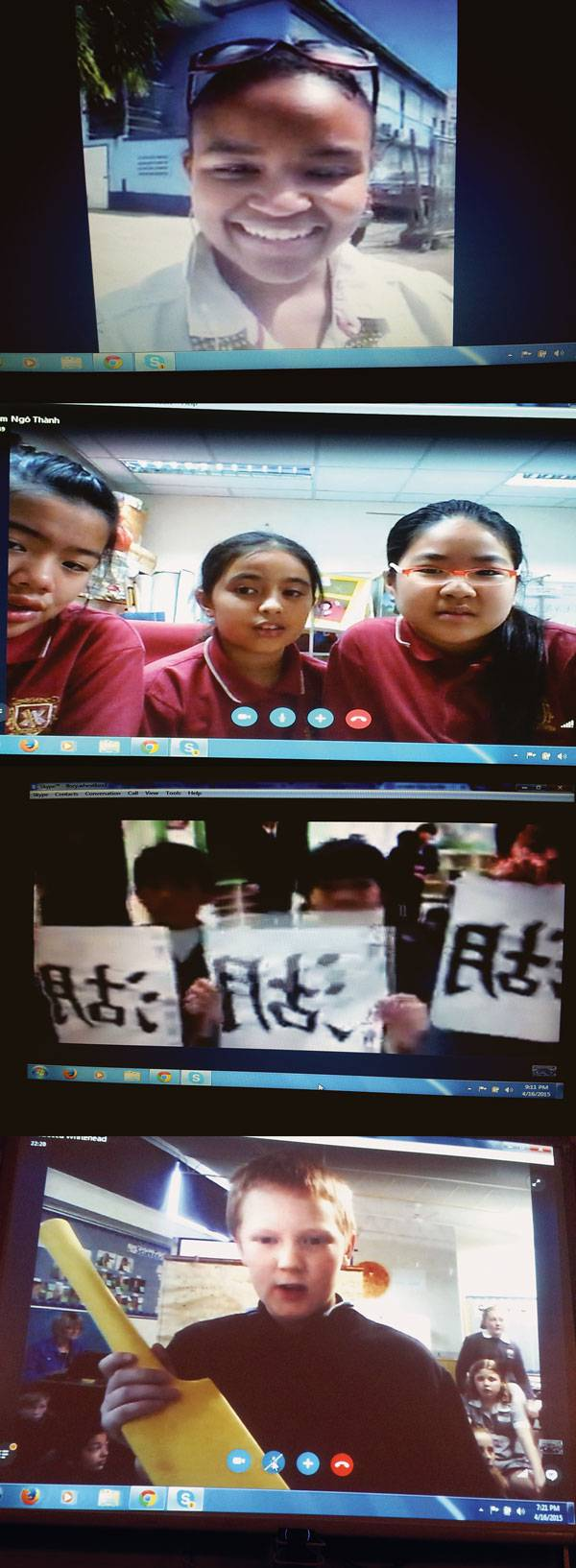 Screen shots from Todd Flory's class's Skype® Around the World Day last April, from the top: U.S. Virgin Islands; Australia; Vietnam; Japan.