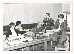 Ada Mae Haury in 1975 with students (from left) Greg May 1976, Ray Wright 1976, Kenneth Gaeddert 1977 and Jon Graves 1975.