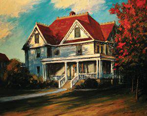 Bethel's Goerz House likely played a key role in inspiring one of the most popular plays of the 20th century and many other works of art, like 'Arsenic and Old Lace' by Joseph Loganbill '80 (oil on panel, ca. 2012), recently on display in the Fine Arts Center Gallery. Photo courtesy of Joseph Loganbill