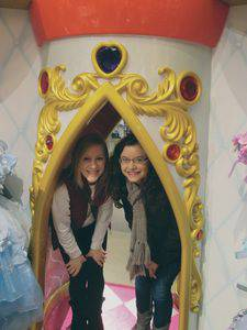 Renae Stucky, left, and Makayla Epp enjoy the Disney Store on Michigan Avenue