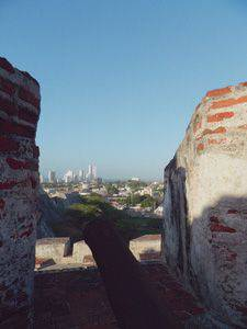 View of Cartagena, Colombia, from the ruins of San Felipe de Barajas castle.