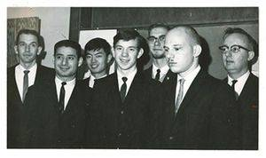 The 1964 Putnam team and coaches, from left Paul Harms, Elias Toubassi, Silas Law, Gary Lyndaker, Ken Graber, Don Quiring and Arnold Wedel (missing is Bob Pankratz).