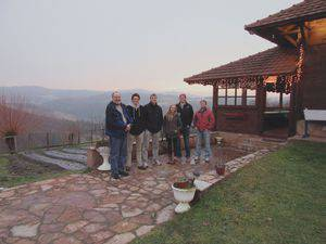 The Bethel group at a farm in Serbia, from left, Mark Jantzen, Brandon Anderson, Jesse Voth-Gaeddert, Alyssa Schrag '12 (currently serving with Mennonite Central Committee in Serbia), Spencer Bailly and Ethan Rodenberg