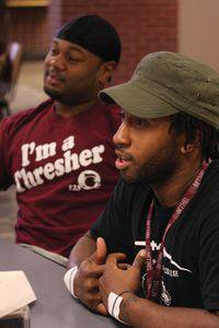 Sheldon Nunnally, left, and Joshua Ross participate in a culture discussion.  Photo by Vada Snider.